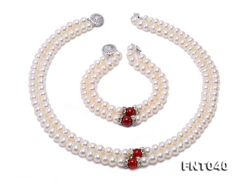 Tow-row 6-7mm White Freshwater Pearl & Red Agate Beads Necklace and Bracelet Set big Image 2