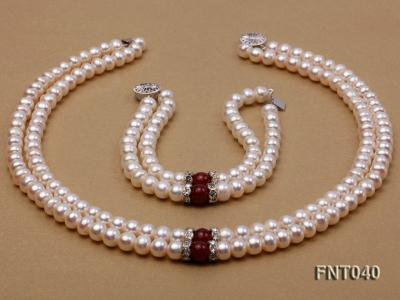Tow-row 6-7mm White Freshwater Pearl & Red Agate Beads Necklace and Bracelet Set FNT040 Image 3