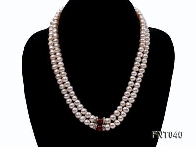 Tow-row 6-7mm White Freshwater Pearl & Red Agate Beads Necklace and Bracelet Set FNT040 Image 4