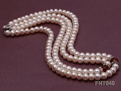 Tow-row 6-7mm White Freshwater Pearl & Red Agate Beads Necklace and Bracelet Set FNT040 Image 6
