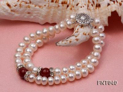 Tow-row 6-7mm White Freshwater Pearl & Red Agate Beads Necklace and Bracelet Set FNT040 Image 9