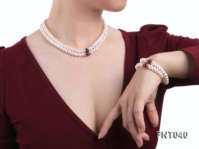 Tow-row 6-7mm White Freshwater Pearl & Red Agate Beads Necklace and Bracelet Set FNT040 Image 10