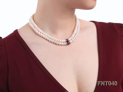 Tow-row 6-7mm White Freshwater Pearl & Red Agate Beads Necklace and Bracelet Set FNT040 Image 13