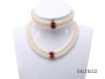 Tow-row 6-7mm White Freshwater Pearl & Red Agate Beads Necklace and Bracelet Set FNT040 Image 1