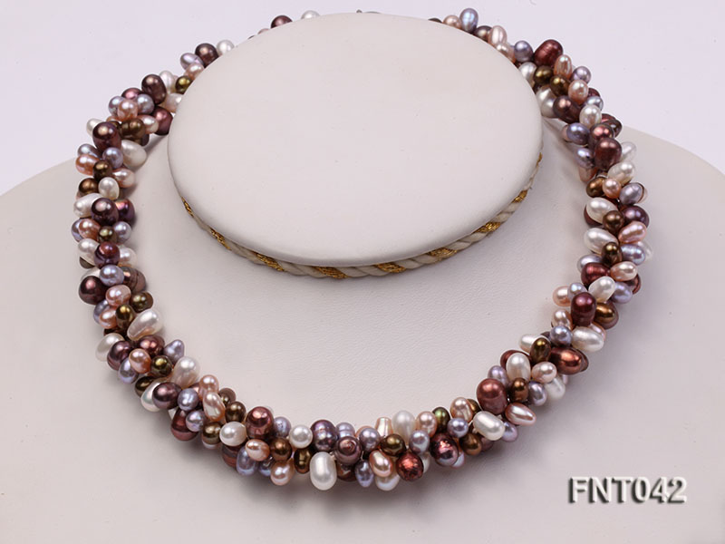 Three-strand 5x7mm Multi-color Freshwater Pearl Necklace and Bracelet Set big Image 2