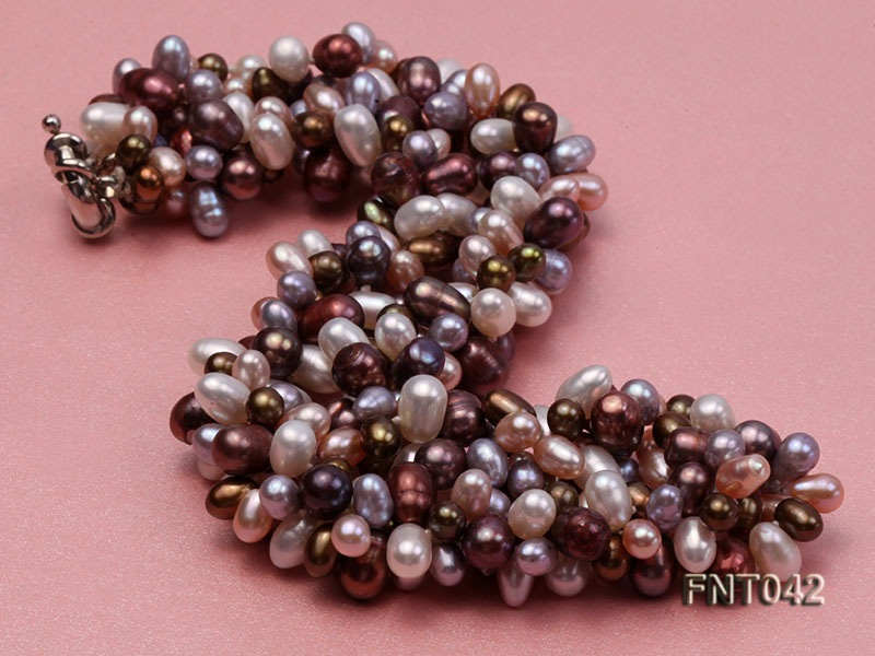 Three-strand 5x7mm Multi-color Freshwater Pearl Necklace and Bracelet Set big Image 3
