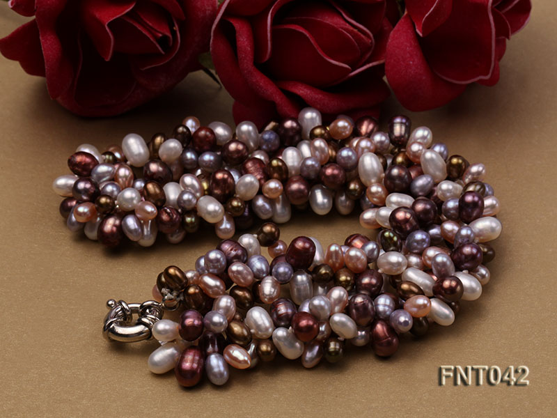 Three-strand 5x7mm Multi-color Freshwater Pearl Necklace and Bracelet Set big Image 6