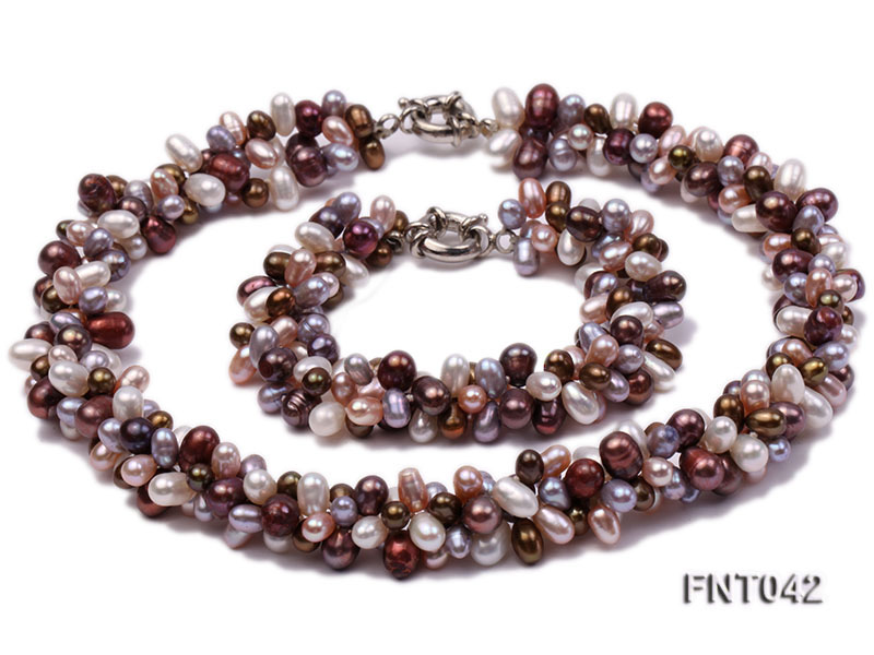 Three-strand 5x7mm Multi-color Freshwater Pearl Necklace and Bracelet Set big Image 10