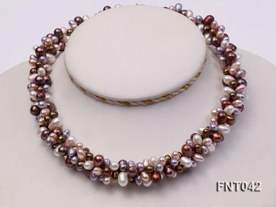 Three-strand 5x7mm Multi-color Freshwater Pearl Necklace and Bracelet Set FNT042 Image 2