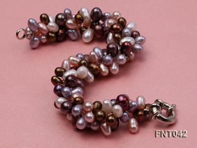 Three-strand 5x7mm Multi-color Freshwater Pearl Necklace and Bracelet Set FNT042 Image 4