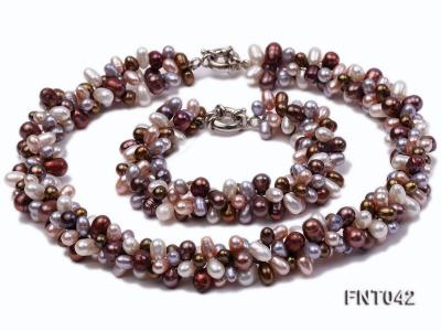 Three-strand 5x7mm Multi-color Freshwater Pearl Necklace and Bracelet Set FNT042 Image 10