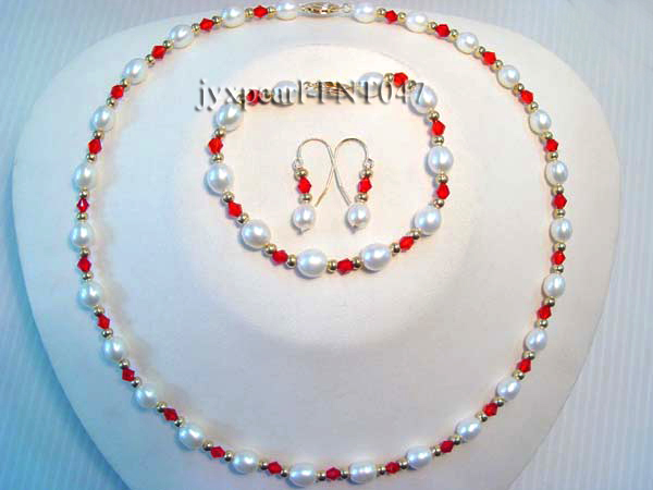 White Rice-shaped Freshwater Pearl & Red Crystal Beads Necklace, Bracelet and Earrings Set big Image 2