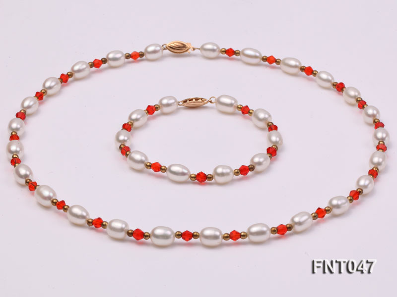 White Rice-shaped Freshwater Pearl & Red Crystal Beads Necklace, Bracelet and Earrings Set big Image 3