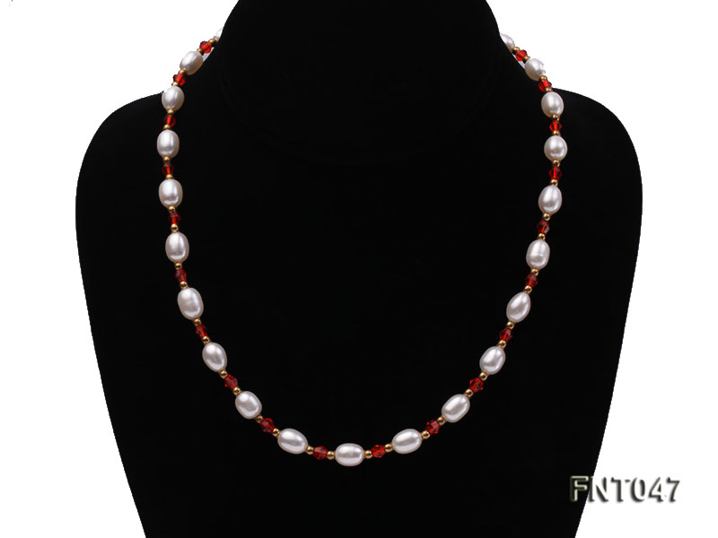 White Rice-shaped Freshwater Pearl & Red Crystal Beads Necklace, Bracelet and Earrings Set big Image 4