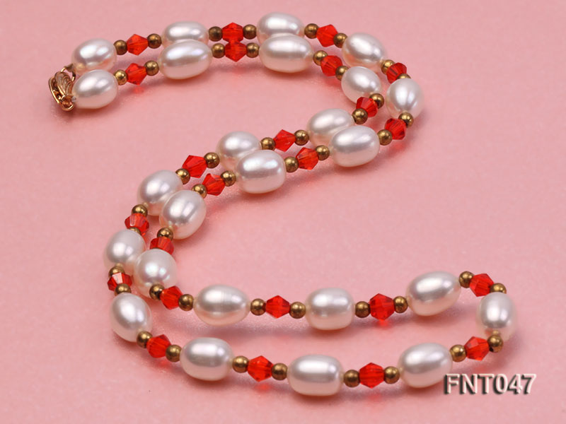White Rice-shaped Freshwater Pearl & Red Crystal Beads Necklace, Bracelet and Earrings Set big Image 5