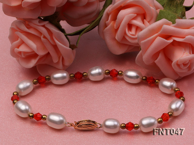 White Rice-shaped Freshwater Pearl & Red Crystal Beads Necklace, Bracelet and Earrings Set big Image 6
