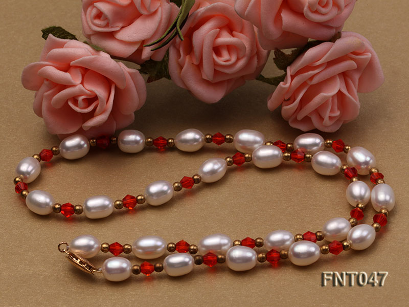White Rice-shaped Freshwater Pearl & Red Crystal Beads Necklace, Bracelet and Earrings Set big Image 7