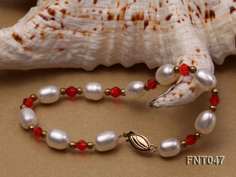 White Rice-shaped Freshwater Pearl & Red Crystal Beads Necklace, Bracelet and Earrings Set big Image 8
