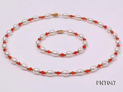 White Rice-shaped Freshwater Pearl & Red Crystal Beads Necklace, Bracelet and Earrings Set FNT047 Image 3