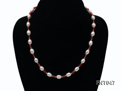White Rice-shaped Freshwater Pearl & Red Crystal Beads Necklace, Bracelet and Earrings Set FNT047 Image 4
