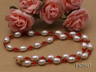 White Rice-shaped Freshwater Pearl & Red Crystal Beads Necklace, Bracelet and Earrings Set FNT047 Image 7