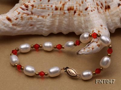 White Rice-shaped Freshwater Pearl & Red Crystal Beads Necklace, Bracelet and Earrings Set FNT047 Image 8