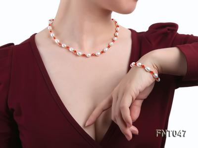 White Rice-shaped Freshwater Pearl & Red Crystal Beads Necklace, Bracelet and Earrings Set FNT047 Image 1