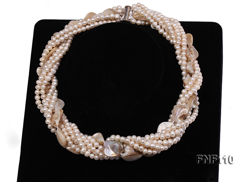 Six-strand 3-4 mm White Freshwater Pearl and White Seashell Pieces Necklace big Image 1