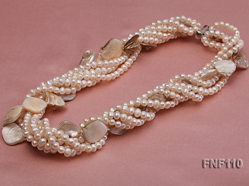 Six-strand 3-4 mm White Freshwater Pearl and White Seashell Pieces Necklace big Image 4