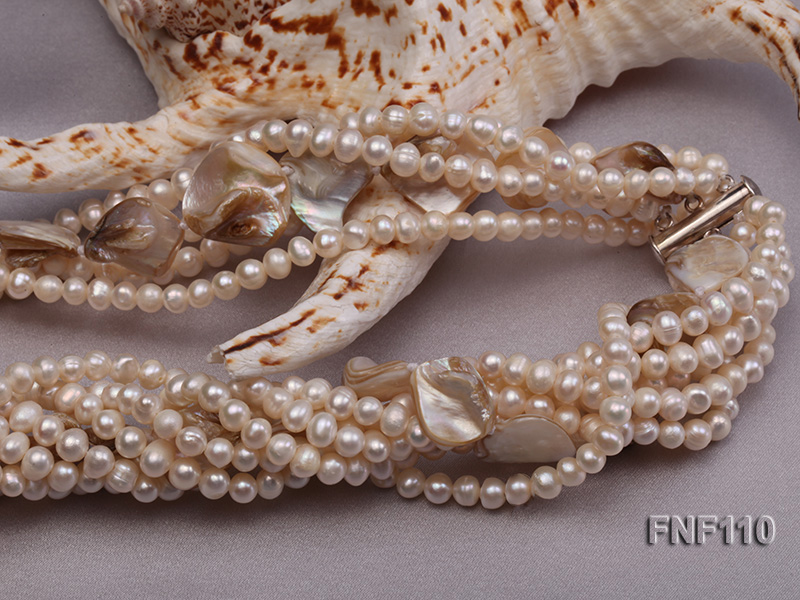 Six-strand 3-4 mm White Freshwater Pearl and White Seashell Pieces Necklace big Image 5