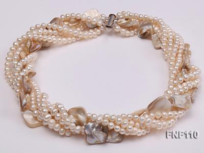 Six-strand 3-4 mm White Freshwater Pearl and White Seashell Pieces Necklace FNF110 Image 3