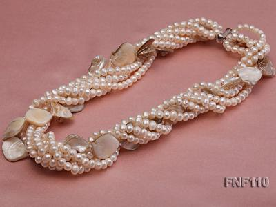 Six-strand 3-4 mm White Freshwater Pearl and White Seashell Pieces Necklace FNF110 Image 4