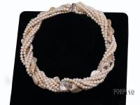 Six-strand 3-4 mm White Freshwater Pearl and White Seashell Pieces Necklace FNF110