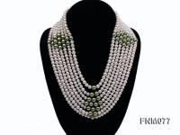 7 strand white freshwater pearl and green seashell pearl necklace with sterling sliver clasp FNM077