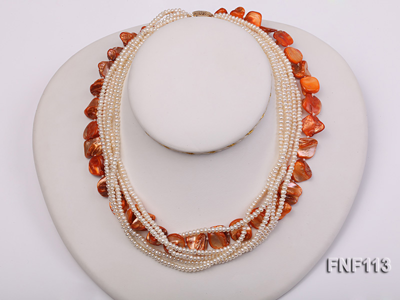 Six-strand 3-4mm White Freshwater Pearl and Orange Sea-shell pieces Necklace  big Image 1