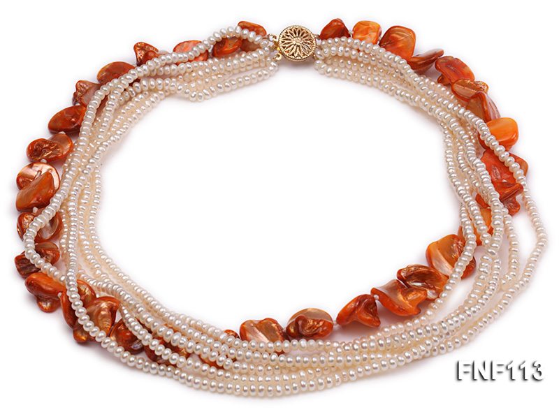 Six-strand 3-4mm White Freshwater Pearl and Orange Sea-shell pieces Necklace  big Image 3