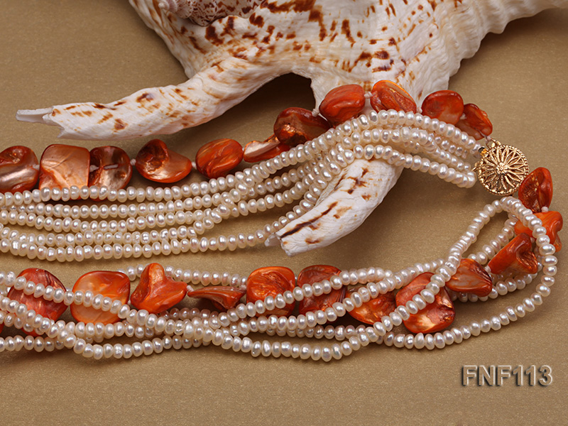 Six-strand 3-4mm White Freshwater Pearl and Orange Sea-shell pieces Necklace  big Image 4