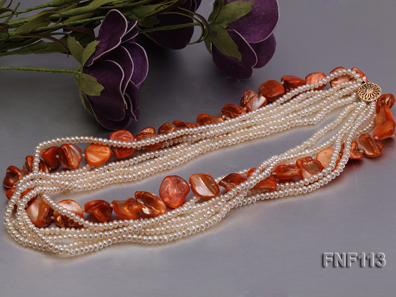 Six-strand 3-4mm White Freshwater Pearl and Orange Sea-shell pieces Necklace  big Image 5