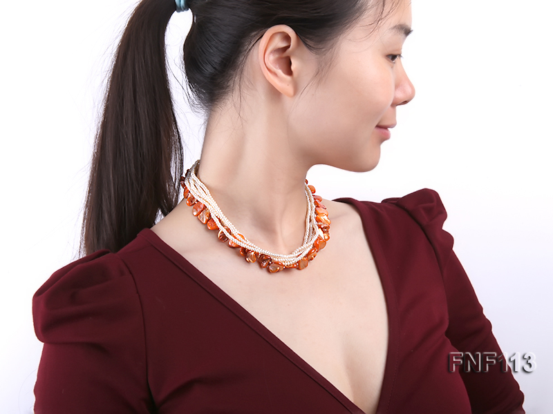 Six-strand 3-4mm White Freshwater Pearl and Orange Sea-shell pieces Necklace  big Image 6