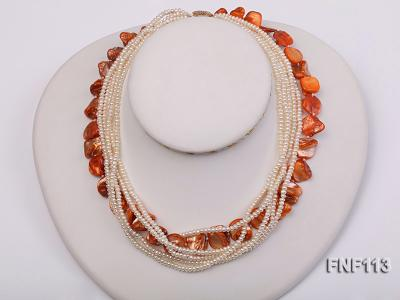 Six-strand 3-4mm White Freshwater Pearl and Orange Sea-shell pieces Necklace  FNF113 Image 1