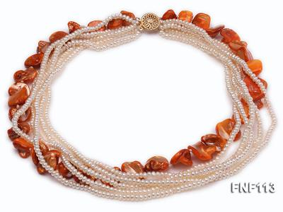 Six-strand 3-4mm White Freshwater Pearl and Orange Sea-shell pieces Necklace  FNF113 Image 3