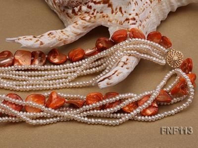 Six-strand 3-4mm White Freshwater Pearl and Orange Sea-shell pieces Necklace  FNF113 Image 4