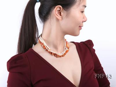 Six-strand 3-4mm White Freshwater Pearl and Orange Sea-shell pieces Necklace  FNF113 Image 6