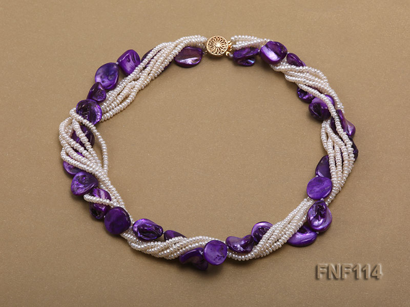 Six-strand White Freshwater Pearl and Purple Shell Pieces Necklace big Image 1