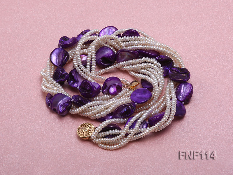Six-strand White Freshwater Pearl and Purple Shell Pieces Necklace big Image 3