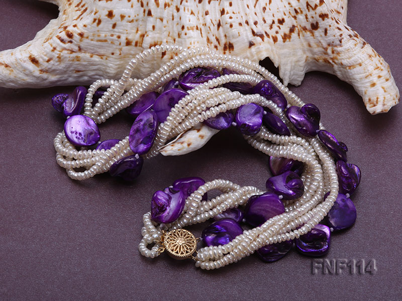 Six-strand White Freshwater Pearl and Purple Shell Pieces Necklace big Image 4