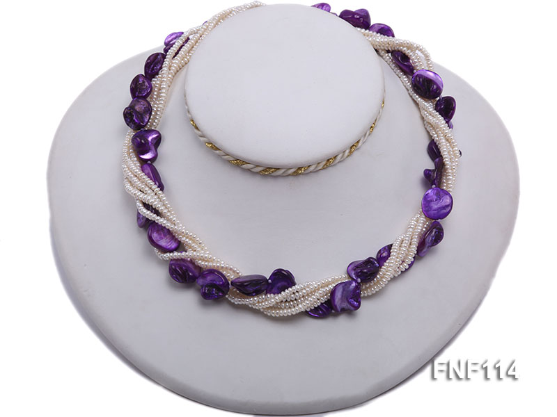 Six-strand White Freshwater Pearl and Purple Shell Pieces Necklace big Image 5