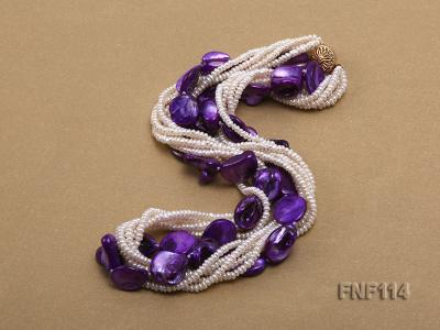 Six-strand White Freshwater Pearl and Purple Shell Pieces Necklace FNF114 Image 2