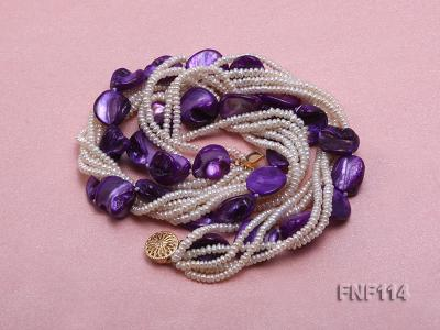 Six-strand White Freshwater Pearl and Purple Shell Pieces Necklace FNF114 Image 3