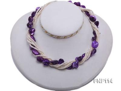 Six-strand White Freshwater Pearl and Purple Shell Pieces Necklace FNF114 Image 5